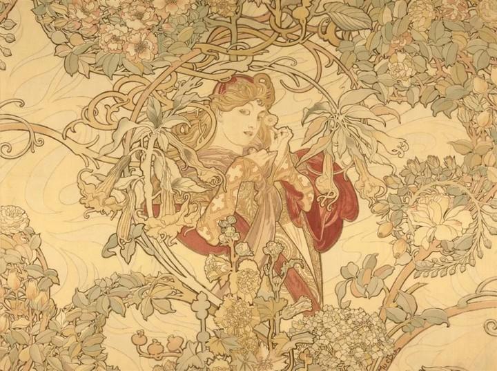 头戴雏菊的女人:慕夏设计的织物