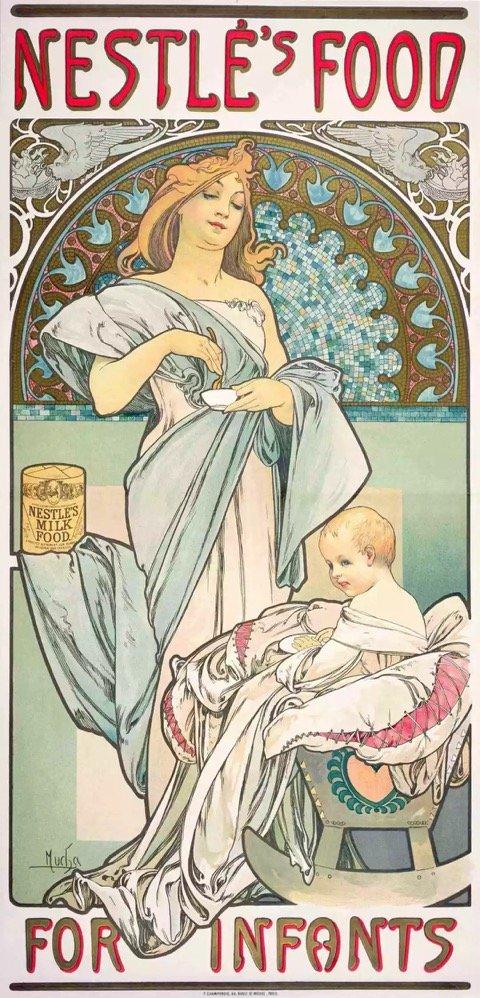 慕夏,雀巢婴儿食品海报,1897年