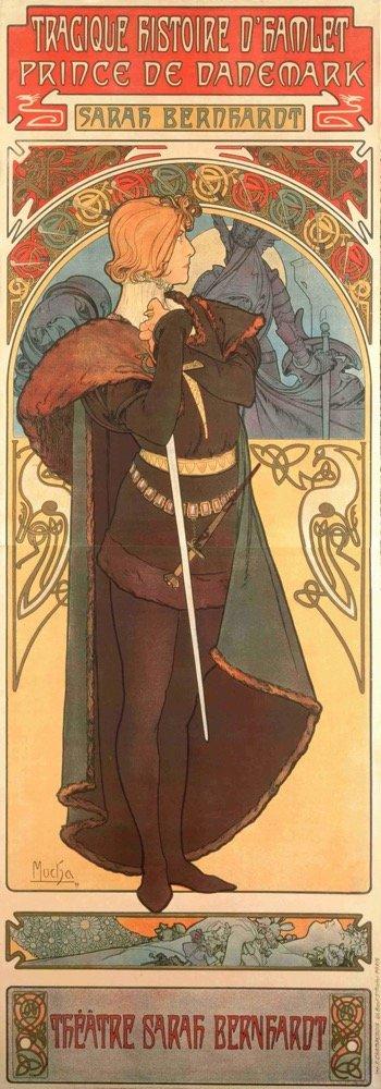 慕夏,《哈姆雷特》海报,1899年